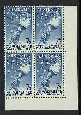 AUSTRALIA PRE-DECIMAL..1956 OLYMPIC GAMES..71/2d TORCH ,CORNER BLOCK OF 4..MUH