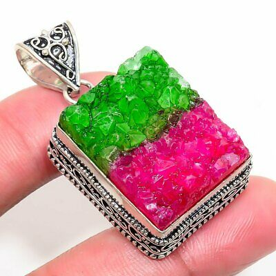 Superb Water Melon Druzy 925 Silver Plated Jewelry Pendant 1.58 Inch