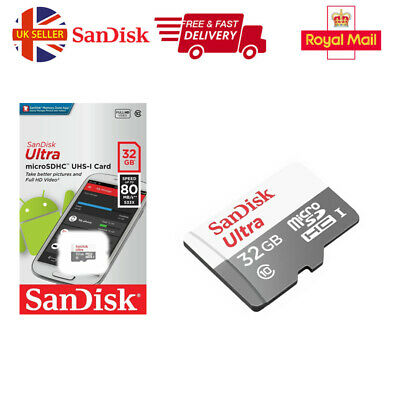 Sandisk 32GB Ultra Micro SD SDHC TF Memory Card 80MBs UHSI Class 10