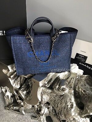 588e4edf9f32 Nwt Chanel Navy Blue Denim Deauville Tote Gold Tweed Boucle Gst Grand  Shopping