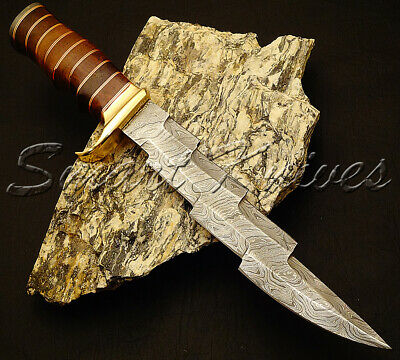 Beautiful Custom Hand Made Damascus Steel Hunting Dagger Bowie Knife Rose Wood
