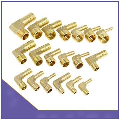 Brass 90 Degree BSP Male Thread x Elbow Barbed Hose Tail Connector Fuel Air Pipe