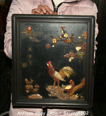 37.5CM Marked China Wood Inlay Conch Dynasty Chicken Chook Cock Landscape Screen