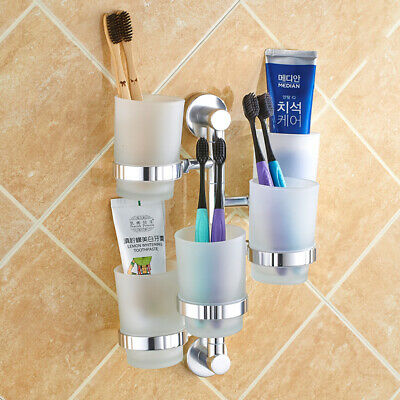 Wall Mount Bathroom Aluminum Shelf Toothbrush Toothpaste Holder Tumbler Five Cup