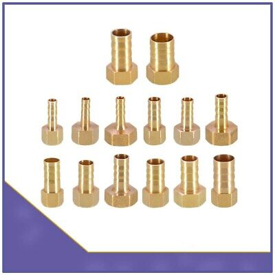 Brass BSP Female Thread x Straight Barb Hose Tail End Connector Fitting For Air