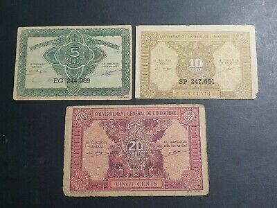 Indochina 5, 10, 20 cent banknotes 1942