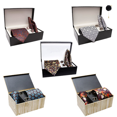 Mens Silk Ties With Cufflinks Printed Tie Casual Party Wear Ties Men Accessories