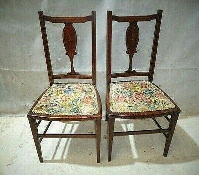 ANTIQUE EDWARDIAN pAIR of INLAID BEDROOM CHAIRS VINTAGE MAHOGANY SIDE CHAIRS