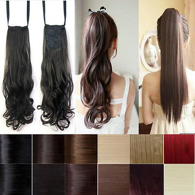 UK Top Grade Wrap On clip in pony tail hair extensions straight curl wave ltd