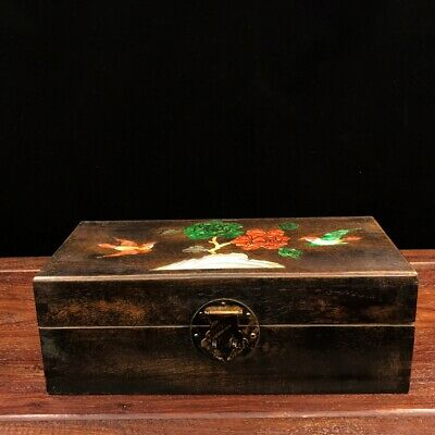 "11"" China old antique huanghuali wood Mosaic shells Magpie plum blossom box"