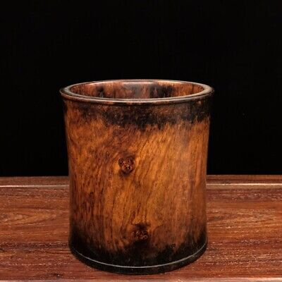 """7"""" China old antique huanghuali wood handcarved Smooth surface pen pot"""