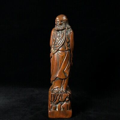 "11"" China old antique huanghuali wooden handcarved Damo Buddha Statue"