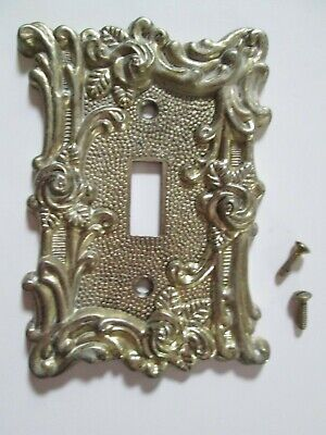 Vintage American Tack and Hardware Brass-Tone Switch Plate Cover Rose Design 60T