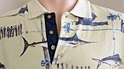 1a9e009b Men's World Wide Sportsman 3 Button-Front Polo Style Shirt Fish Pattern XL