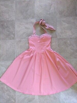 7bf33823dc7 LINDY BOP CAROLA Pink Halter Neck Swing Dress Size 12 - £15.00 ...