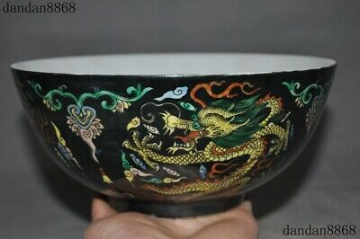 "8""Old Chinese 大清雍正年製 Black glaze Enamel porcelain Dragon Bowl Cup Plate Teacup"
