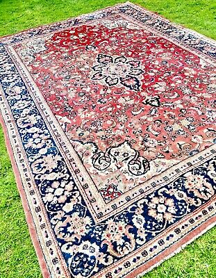 FINE faded hand-knotted VINTAGE Persian Oriental FLOWER RUG carpet 370 x 275cm