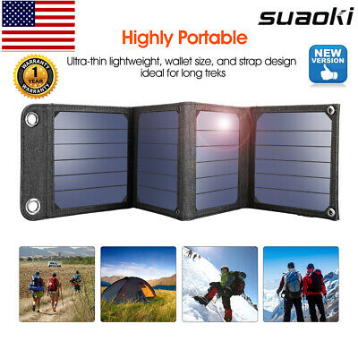 14W USB Solar Panel Charger Power Bank Foldable External Battery for Smartphone