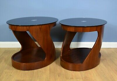 Pair of Mid Century Modern Retro Danish Rosewood Curved Bedside / Lamp Tables