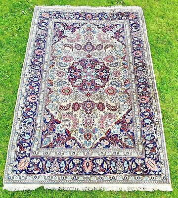 Greys/Blue hand-knotted VINTAGE Persian Oriental FLORAL Nain RUG 195 x 130cm