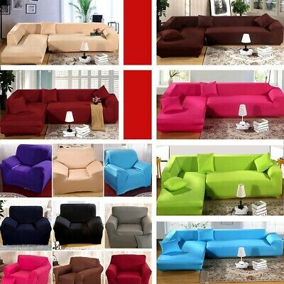 1/2/3/4 Seat L Shape Couch Stretch Fabric Sofa Cover Slipcover Pet Dog Protector