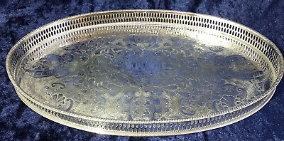 """Vintage Viner's Chased Silver Plated Gallery Oval Tray - Alpha Plate 15"""" x 9¾"""""""