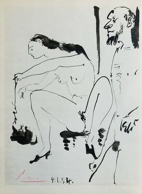 Pablo Picasso and the Human Comedy 1954 Hand Signed Heliogravure from Verve wCOA
