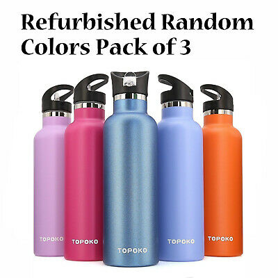 38f24759af 3 Pack Refurbished TOPOKO 25 OZ Double Wall Insulated Water Bottle Random  Colors