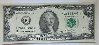 LUCKY-Two Dollar Bill ($2) from BEP Pack-Rare-Sequential Numbers-Perfect Unc.
