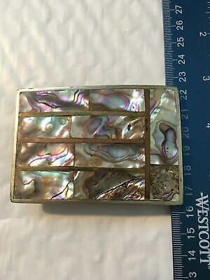 Vintage Mexico Alpaca brass Abalone Shell Inlay Rectangular Belt Buckle Mexican