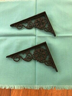 One Pair Vintage Wrought Iron Shelf Brackets