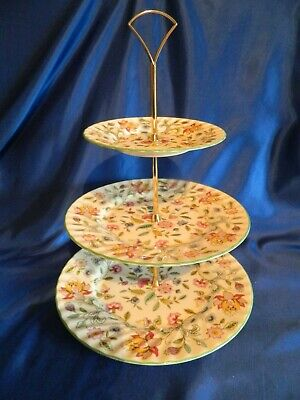 Minton  'Haddon Hall'  Green  3 tier cake stand 1st quality