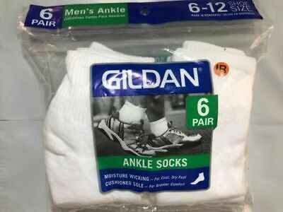 Gildan New 18 Pairs Mens White Sports Athletic Ankle Socks Cotton Size 6-12 Gray