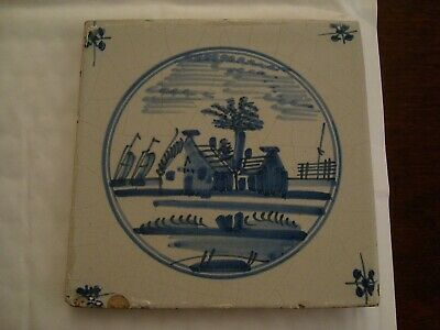 Antique delft tile with house and sailing boats     20/77