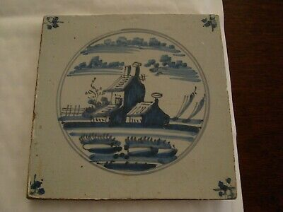Charming Antique delft tile with houses and sailing boats     20/77