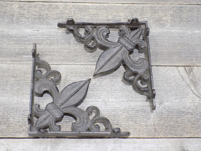 2 Cast Iron Shelf Brackets Fleur De Lis French Bookshelf Corbels Book Wall Gras