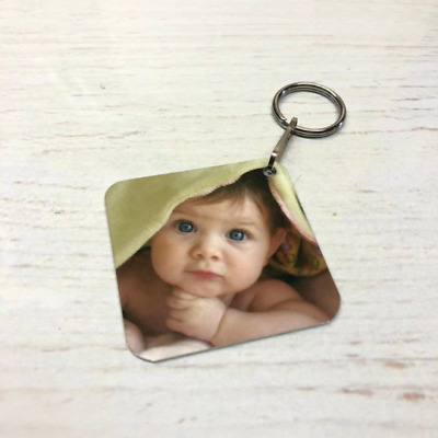 Personalised Square Photo Key Ring, Gift, Double Sided Any Image Promo Logo Text