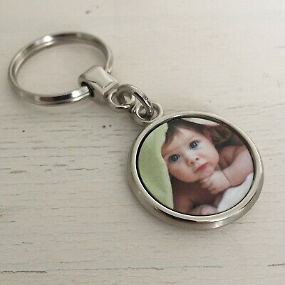 Personalised Photo Keyring, Silver Double Sided Custom Gift, Any Image Logo Text
