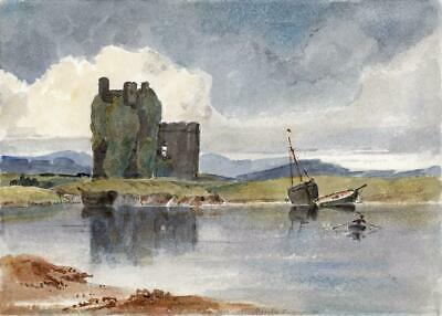 RUINS & LAKE LANDSCAPE Small Victorian Watercolour Painting 19TH CENTURY