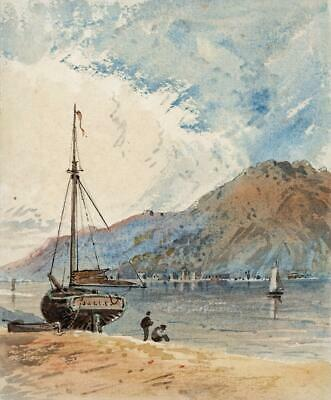 BOATS ON MOUNTAIN LAKE Small Victorian Watercolour Painting 19TH CENTURY