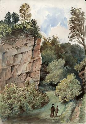 TWO FIGURES IN ROCKY LANDSCAPE Victorian Watercolour Painting 19TH CENTURY