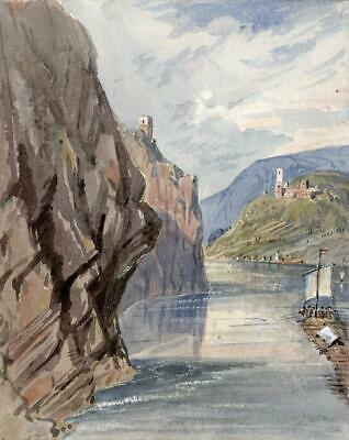 CASTLES ON THE RHINE Small Victorian Watercolour Painting 19TH CENTURY