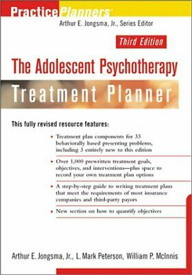 ADOLESCENT PSYCHOTHERAPY TREATMENT PLANNER, 3RD EDITION By Mark Peterson *VG+*