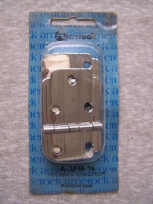 Nos Vintage Amerock 3066 Chrome Flush Mount Cabinet Cupboard Hinges Pair Nip
