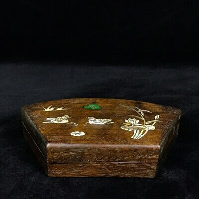 "9"" China old antique huanghuali wood Mosaic shells Mandarin Duck louts box"