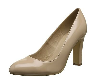 NEW BUFFALO LONDON Womens Patent Closed Toe Heels Beige