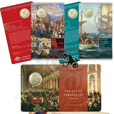 """2019 Mutiny On The Bounty and Treaty of Versailles $1 Coins  """"New Releases"""""""