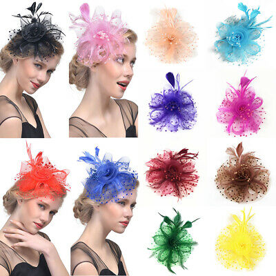 Women Flower Feather Beads Mesh Corsage Hair Clips Fascinator Bridal Hairband