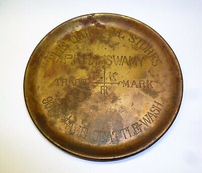 Antique Engraved Brass Tray Oriental Stores Seattle Wash. Ramswamy Trinket Tip