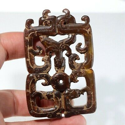 Chinese Exquisite jade Carved pendant statue N1329
